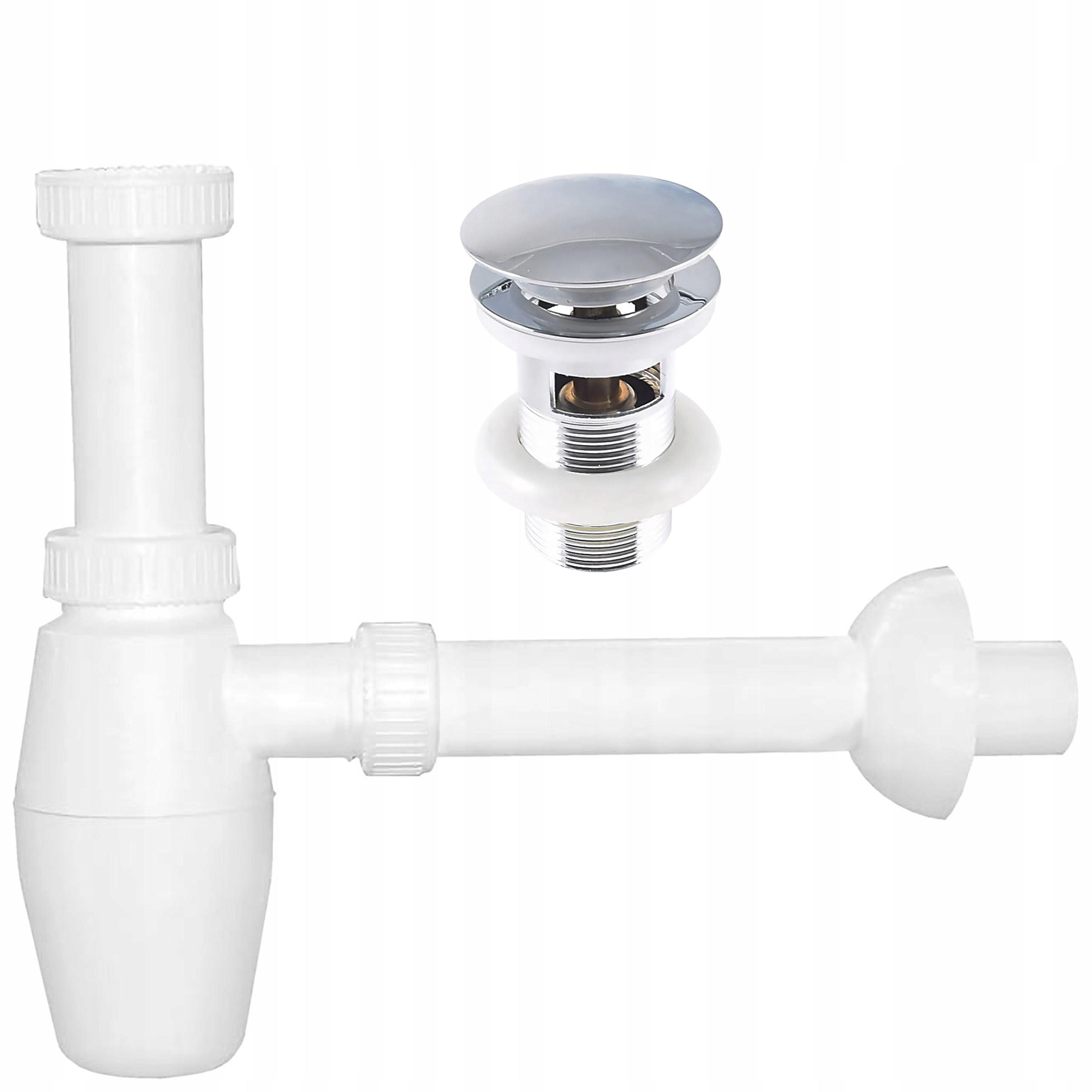 Zestaw syfon do umywalki z korkiem click-clack