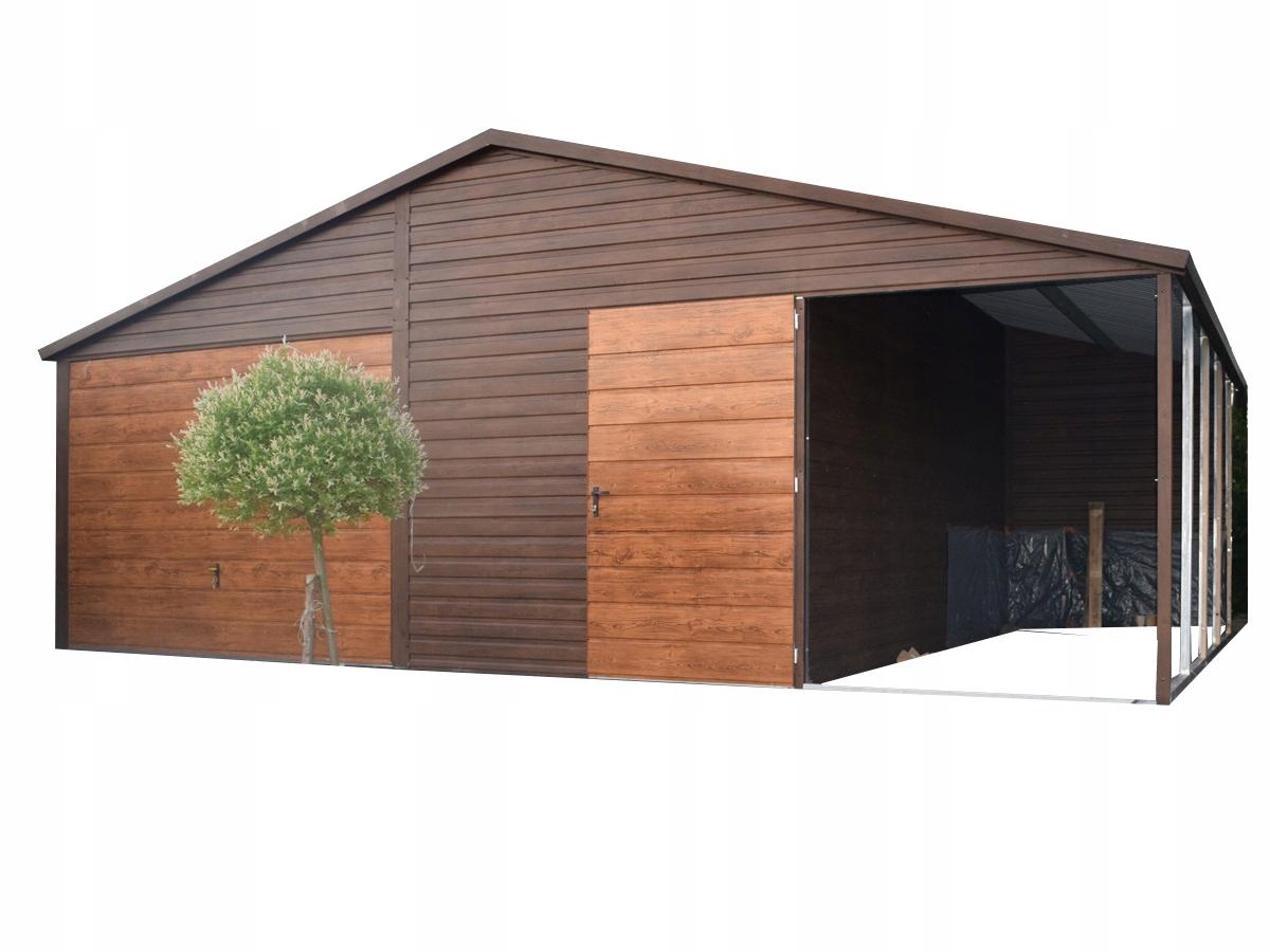 Garaż blaszany 5x5 +wiata 2m garaże obróbki orzech