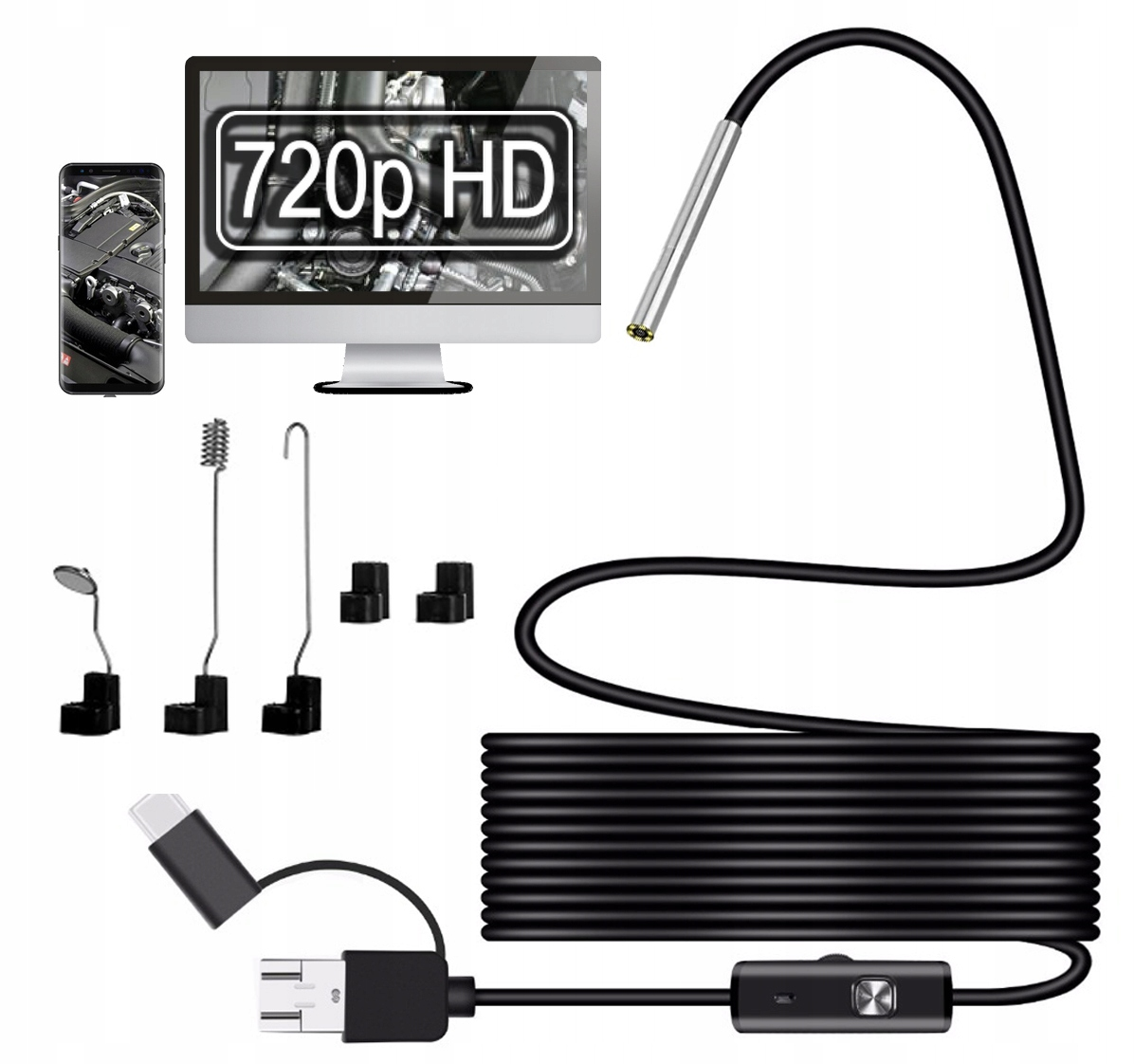 Kamera INSPEKCYJNA ENDOSKOP 3.9mm HD ANDROID USB-C
