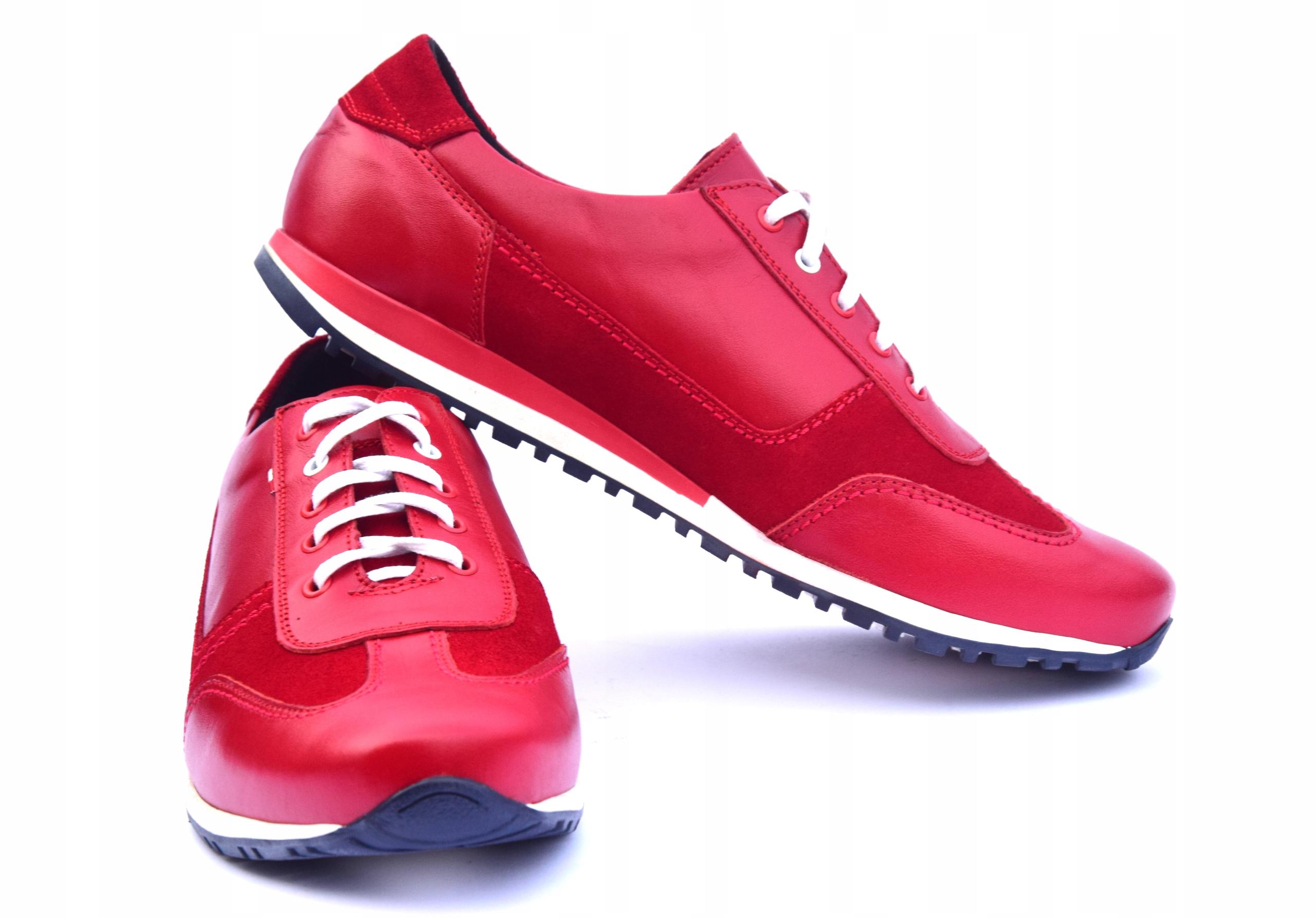 Buty skórzane czerwone obuwie ze skóry PL 294 Marka inna