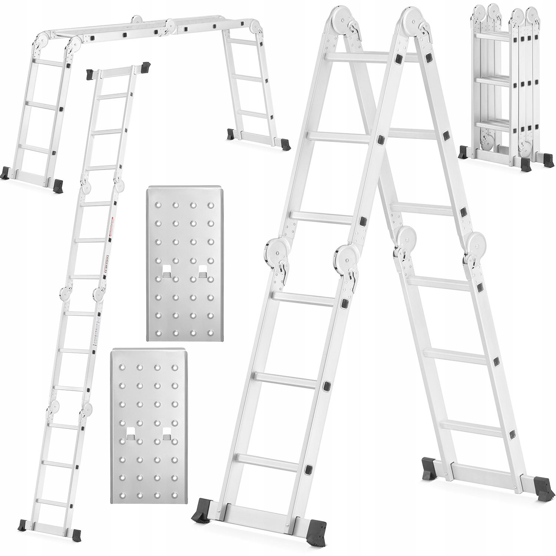 ЛЕСТНИЦА алюминиевая шарнирно-сочлененная 4x3 HIGHER + платформа