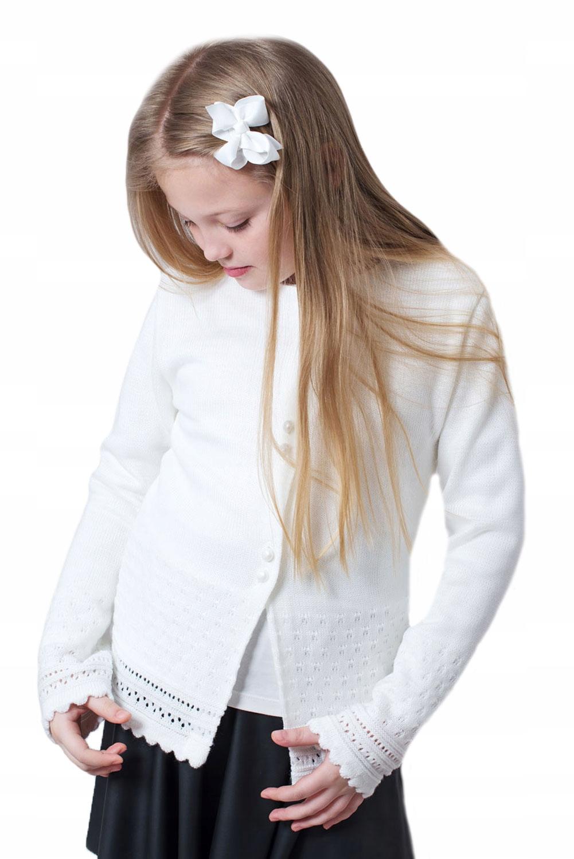 Biały Sweterek Dla Dziewczynki Komunia 140