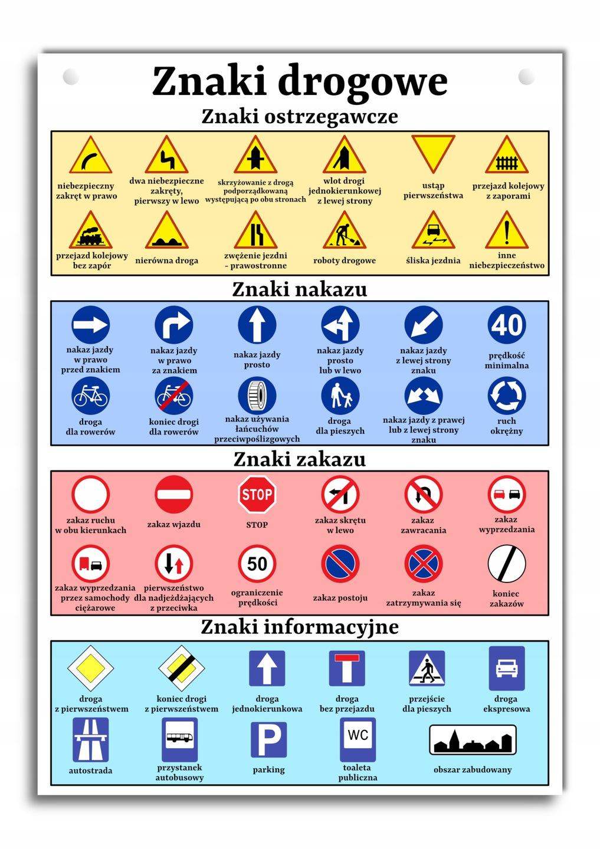 Цветная вывеска с дорожными знаками А3 знаки