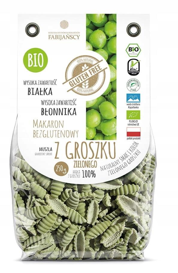 Makaron z zielonego groszku muszla BIO Gluten Free