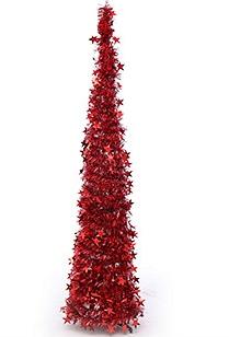 Vianočný stromček, červený umelý vianočný stromček 150 cm
