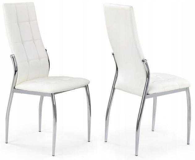 Krzesło K209 Biały Eko Skóra Chrom Pikowane HALMAR