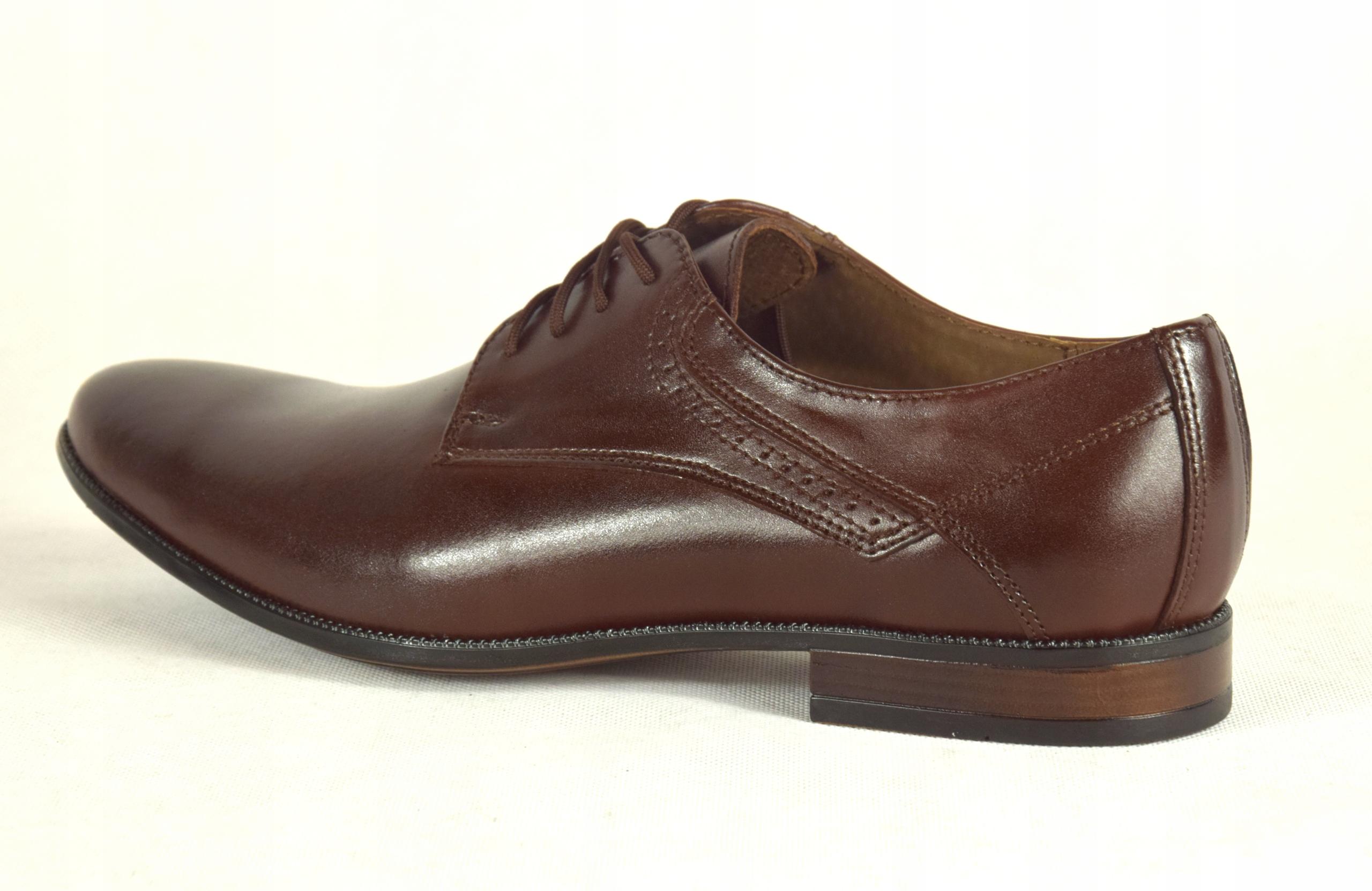 Buty męskie wizytowe skórzane brązowe obuwie 11 Rozmiar 45