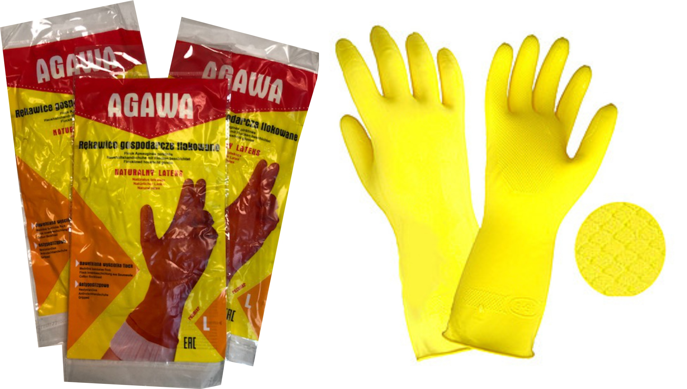 Rękawice Gospodarcze flokowane Naturalny Lateks XL