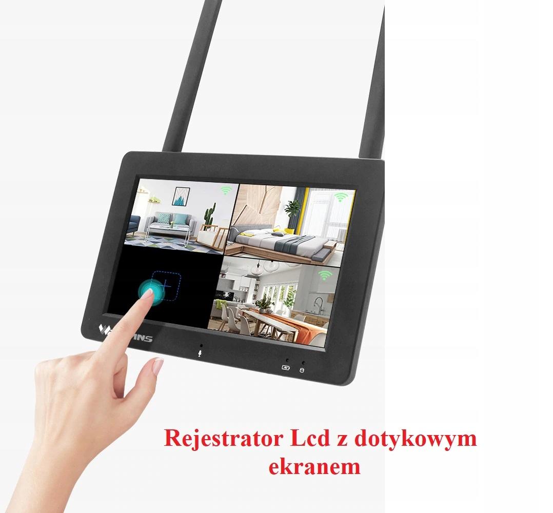 ZESTAW KAMER WIFI Z EKRANEM DOTYKOWYM LCD 1080p Liczba obsługiwanych kamer 4