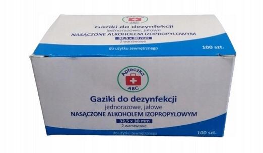 GAZIKI Do Dezynfekcji 2 Warstwowe 100szt Alko70%