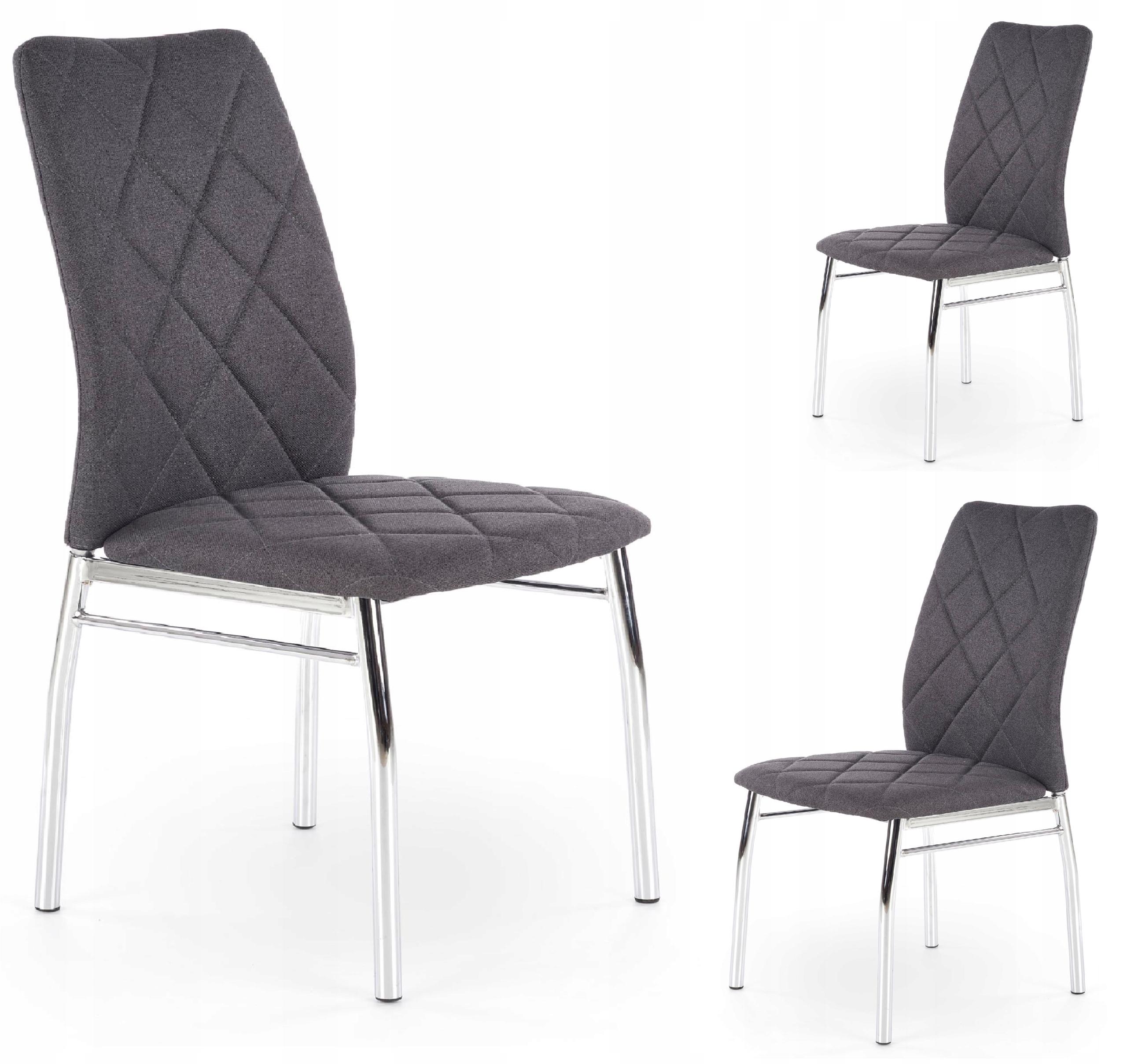 Krzesło K309 Ciemny Popiel Chrom Pikowane Modne