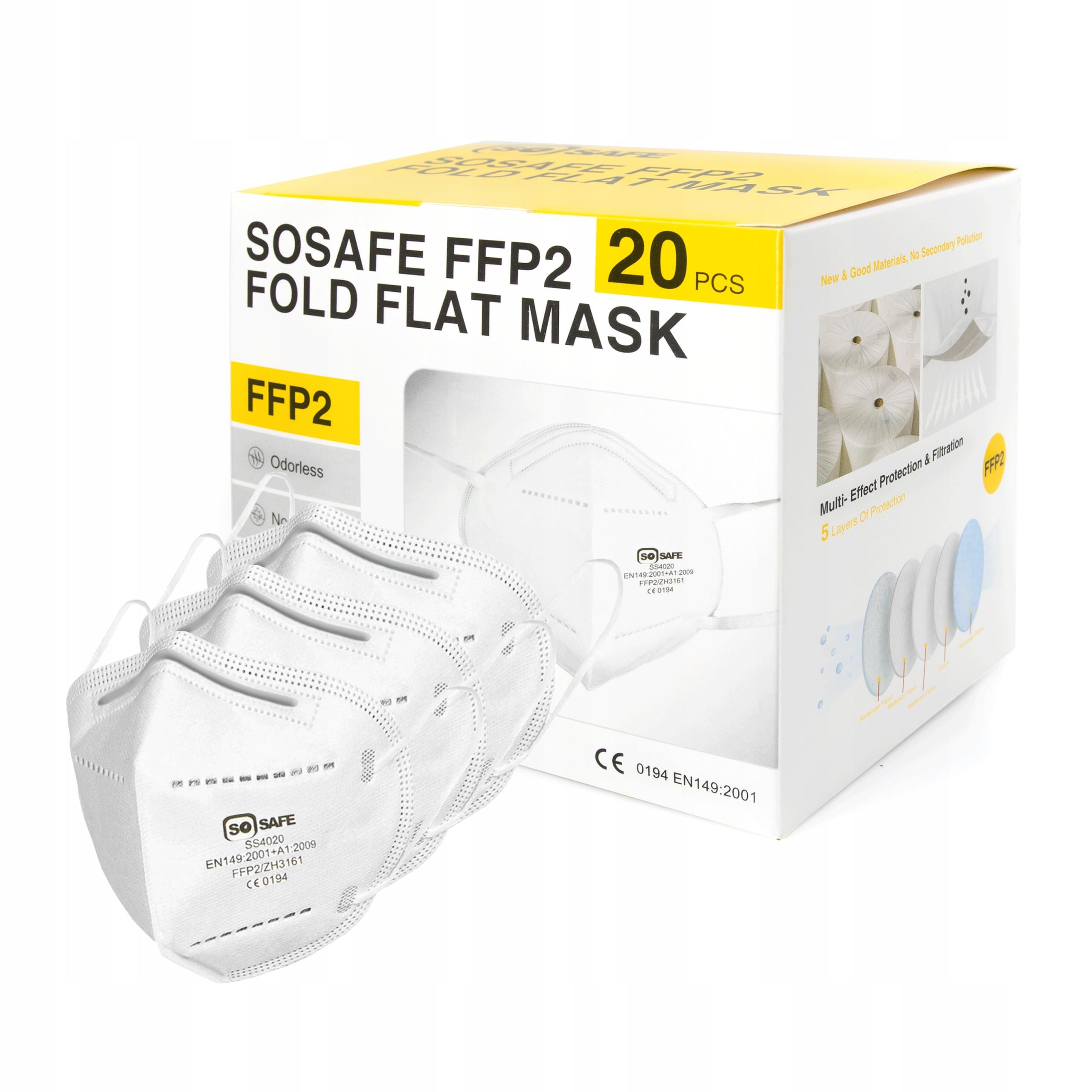 20x защитная маска FPP2 Сертифицированная фильтрующая маска
