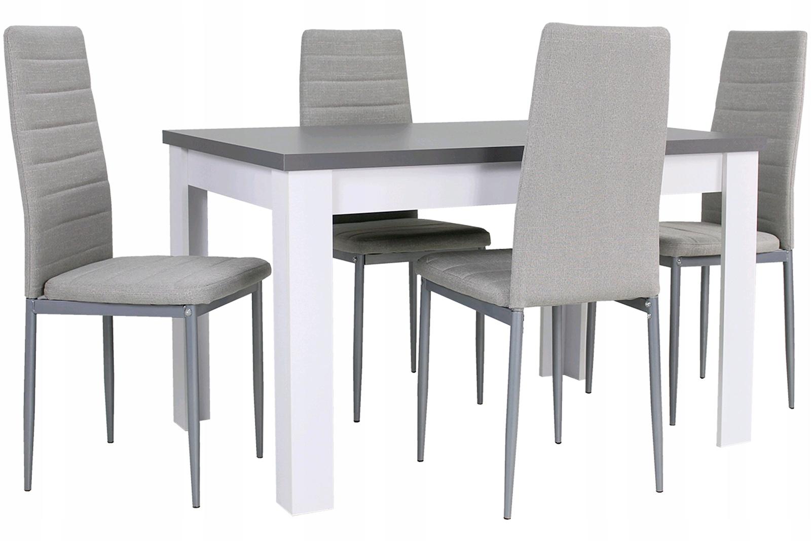 BIAŁO SZARY ZESTAW Stół rozkładany i 4 krzesła