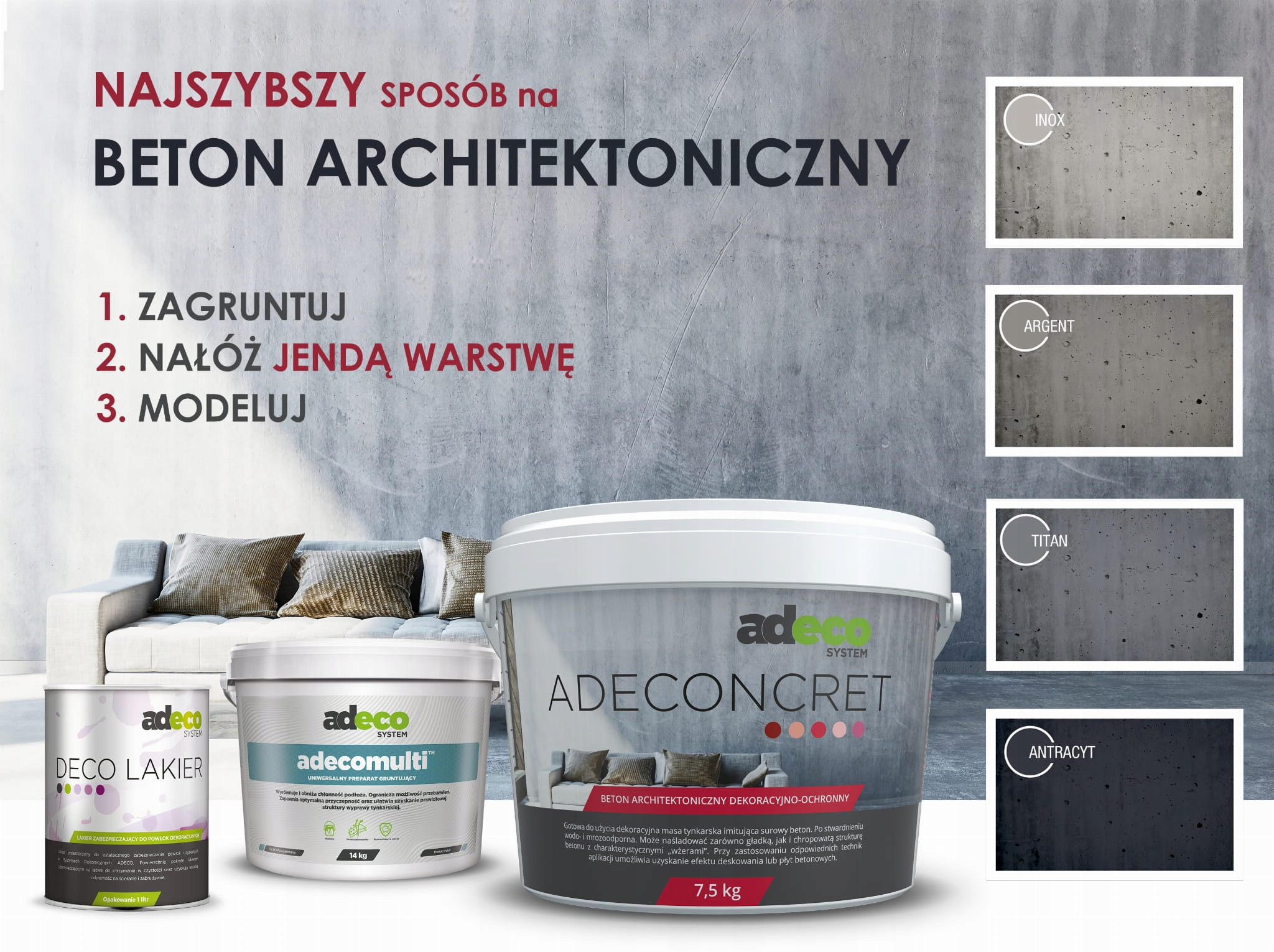 Beton architektoniczny plamoodporny zestaw