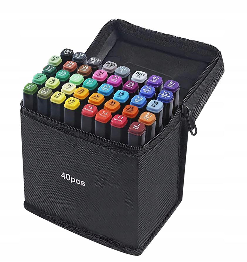 Markery Kolorowe Zakreślacze Pisaki Dwustronne x40 Marka Inna