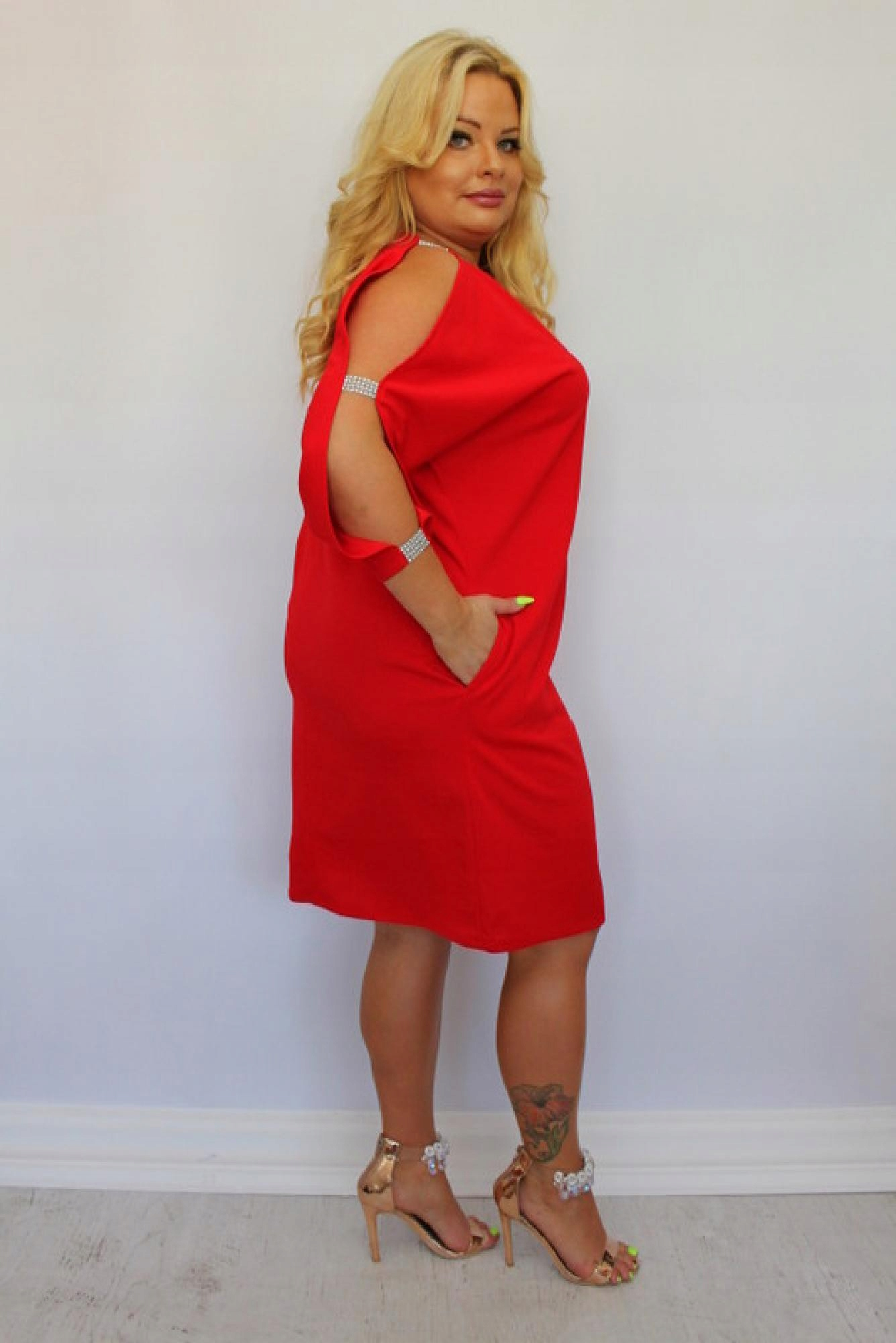 Sukienka na WESELE Cekiny Rękaw duży rozmiar 58 8740266782