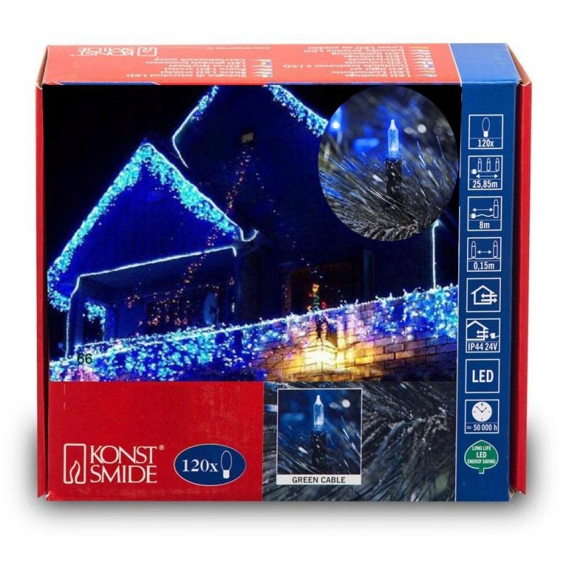 Modré retro 120 LED reťazové svetlá
