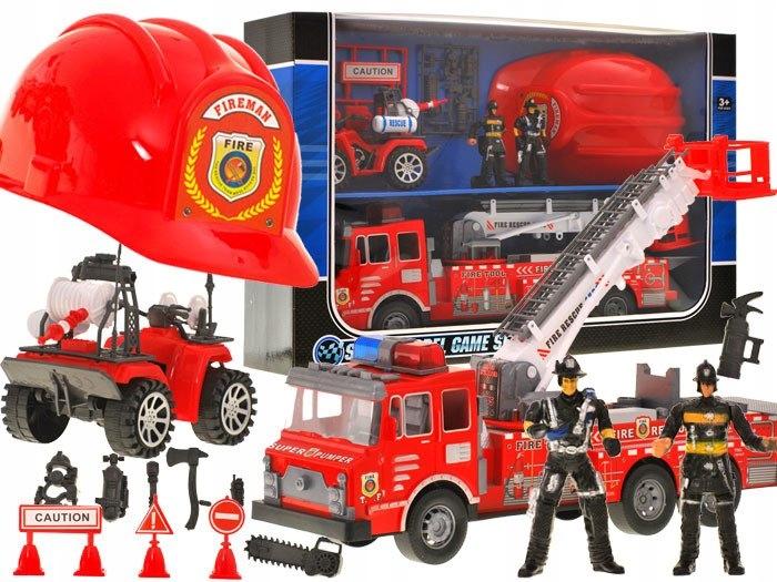Duża Straż Pożarna Auto Kask quad strażacy ZA1158 Marka inna