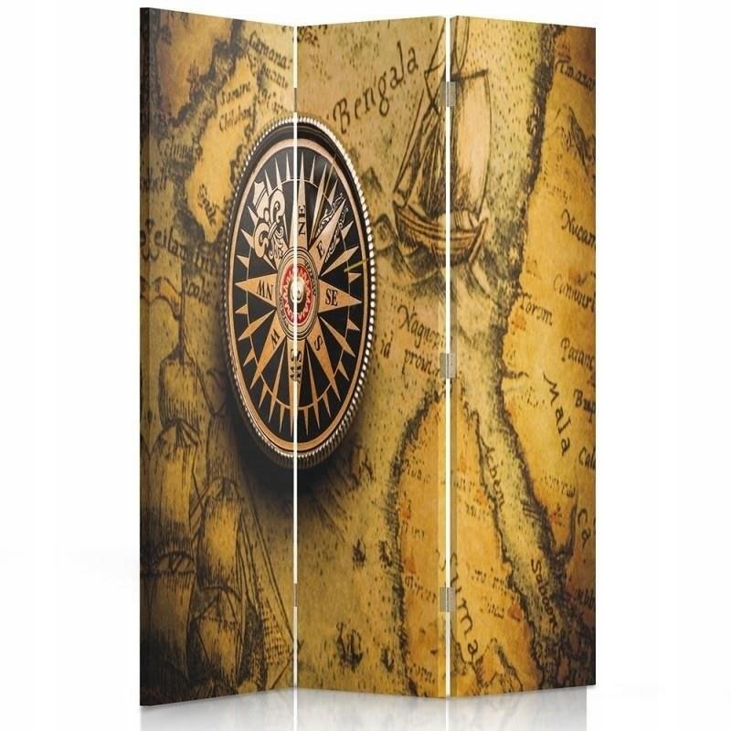 Obrazovka miestnosti, mapa sveta retro kompasu 110 x 150