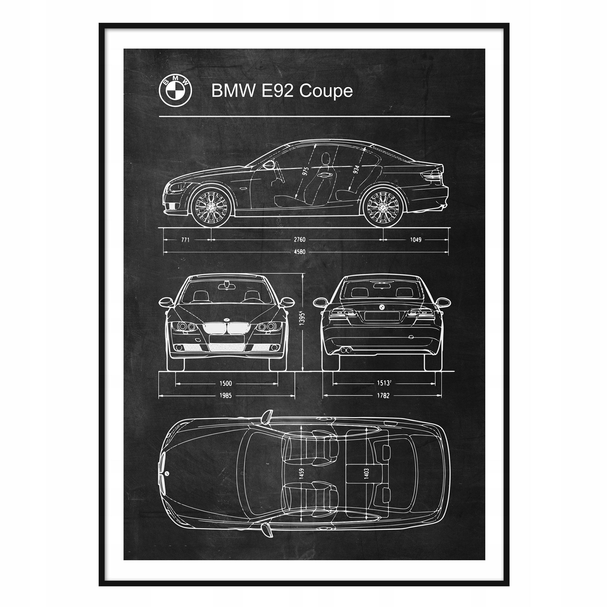 Plagát BMW E92 Retro-Patent Schémy Plagát
