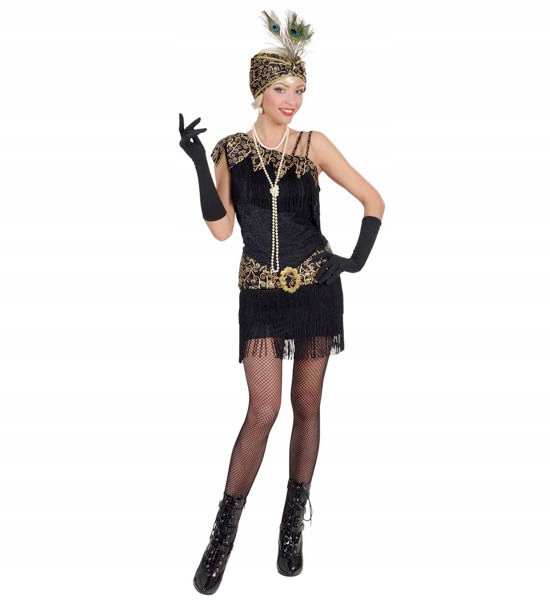 BLACK BURLESE FLAPPER DRESS M