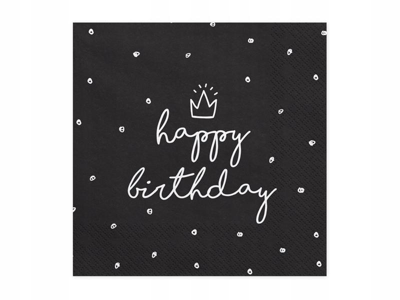 Serwetki trójwarstwowe HAPPY BIRTHDAY czarne 20szt