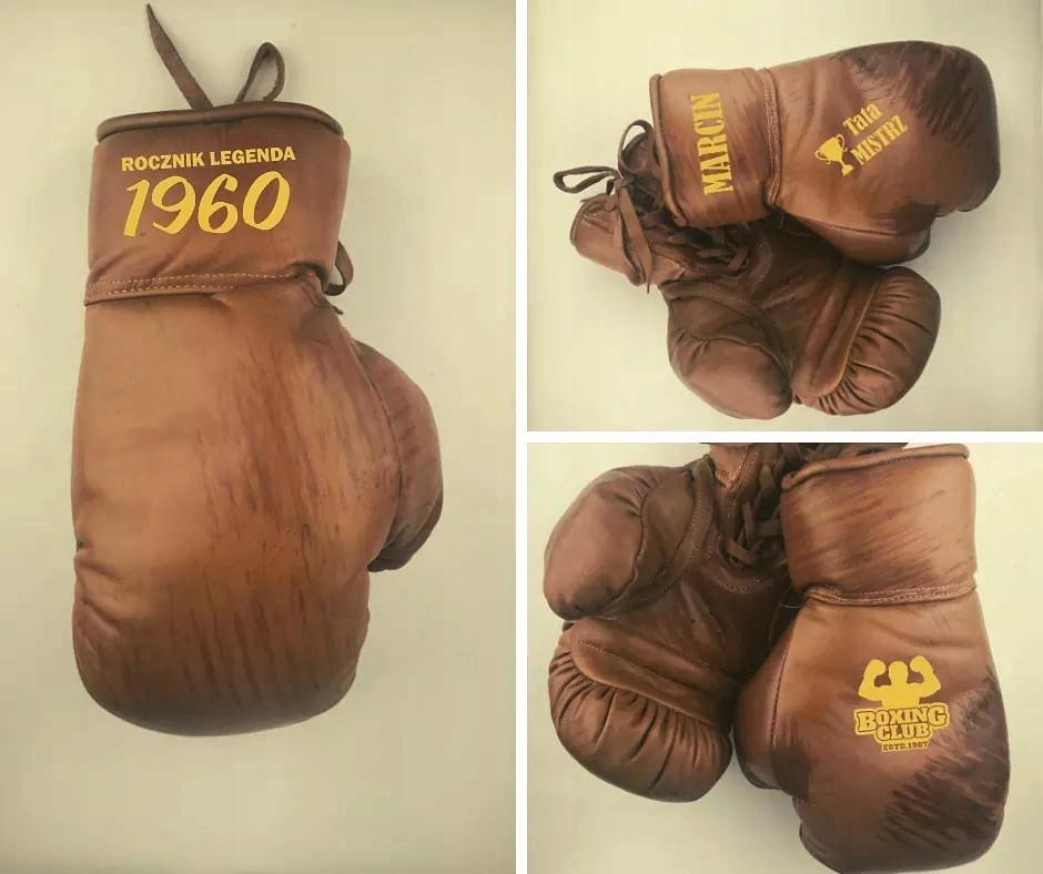 Retro boxerské rukavice s potlačou