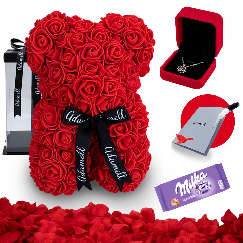 Miś z Róż Czerwony 25cm Pudełko gratis + ŁAŃCUSZEK