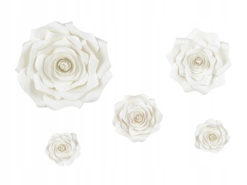 Kwiaty papierowe kremowe urodziny przyjęcia 5 szt