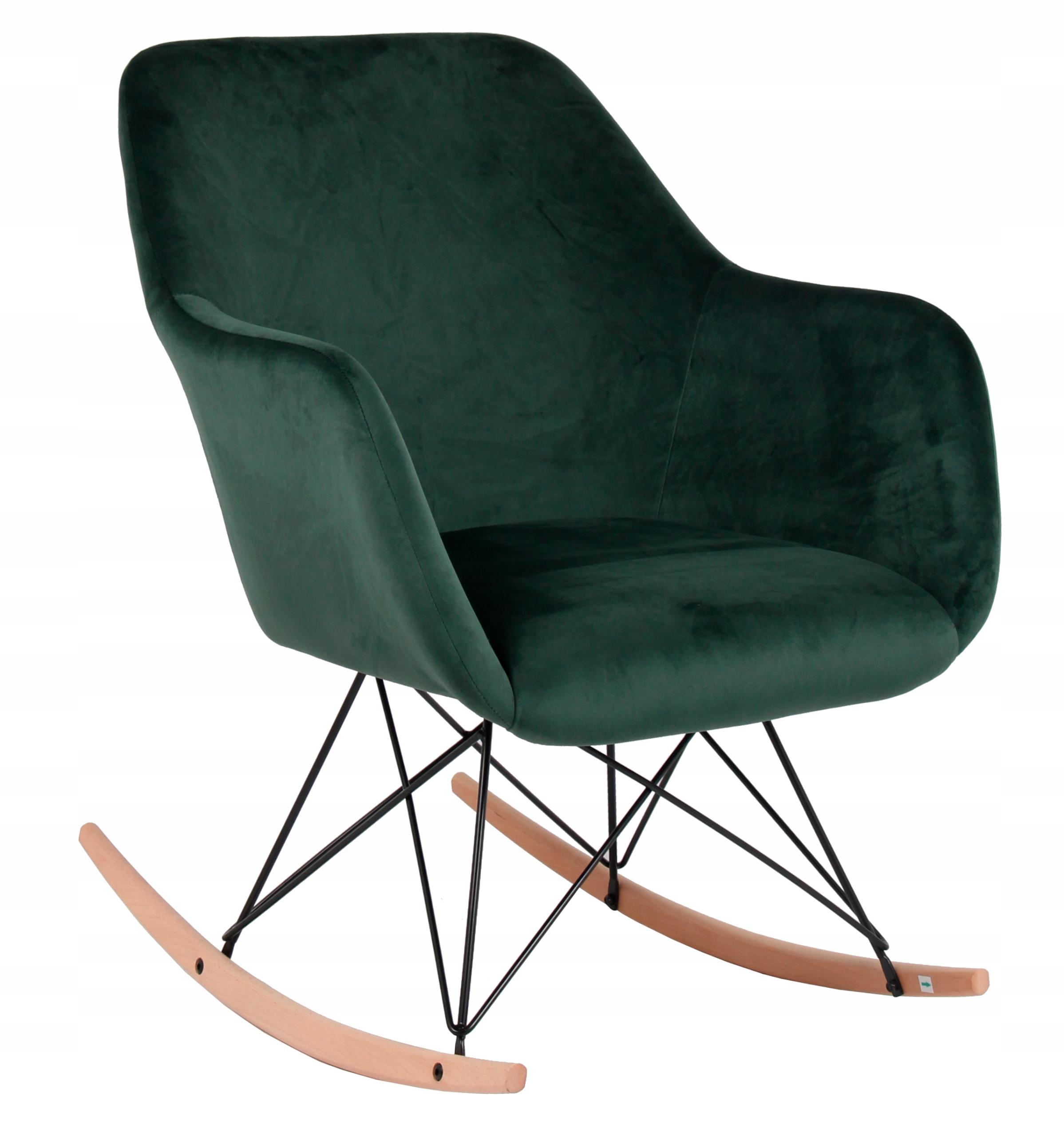 Кресло-качалка обитое Пол бархат зеленый