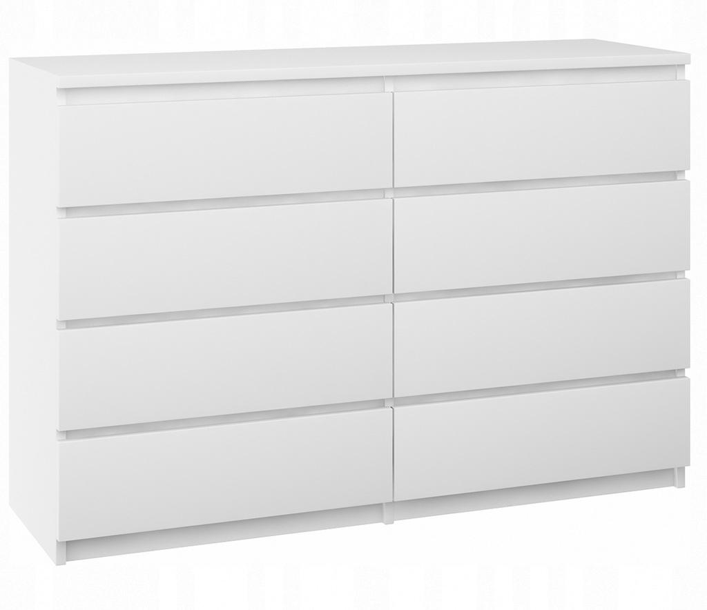 Nowoczesna komoda szafka 8 szuflad biała