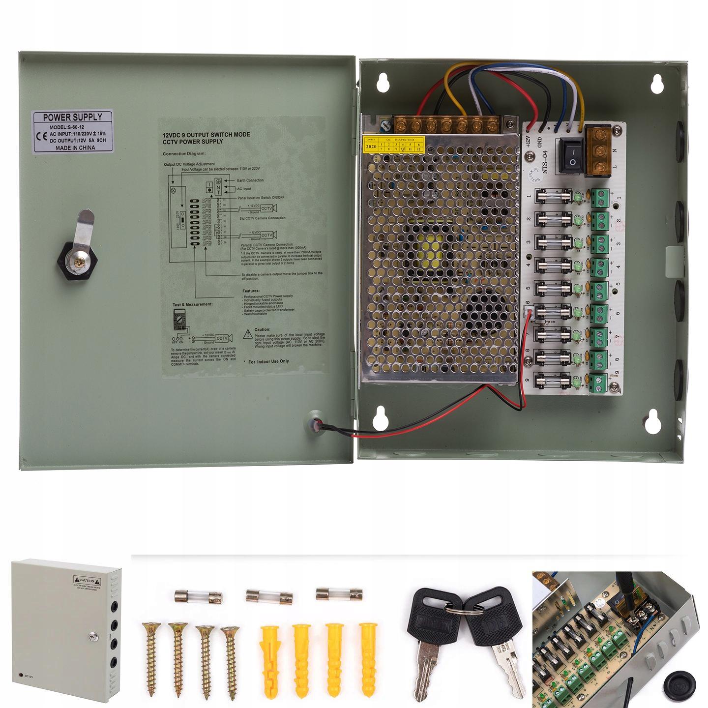ZASILACZ CCTV 12V 10A MAX 9 KAMER MONITORING