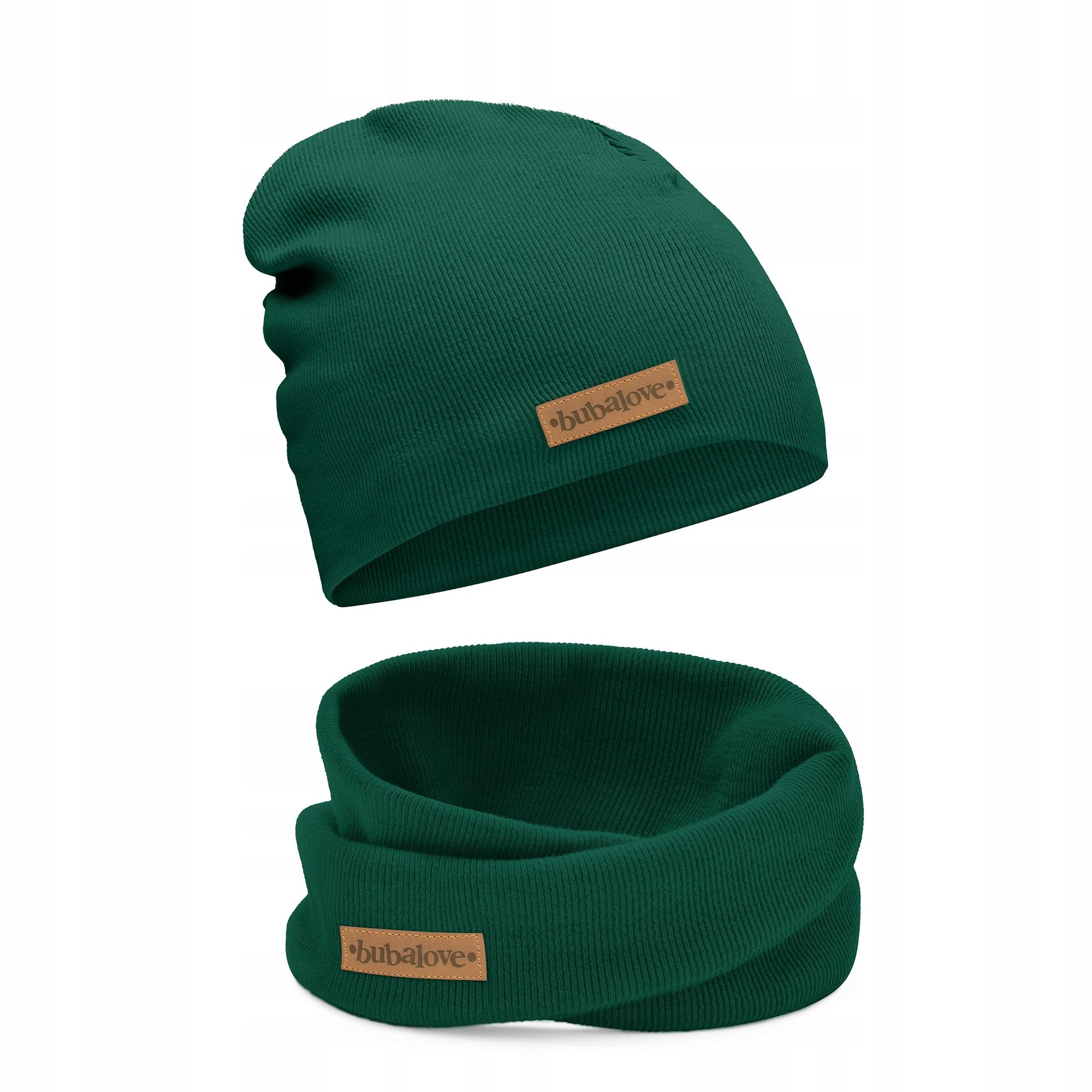 Детская шапка и снуд весна-осень зеленая