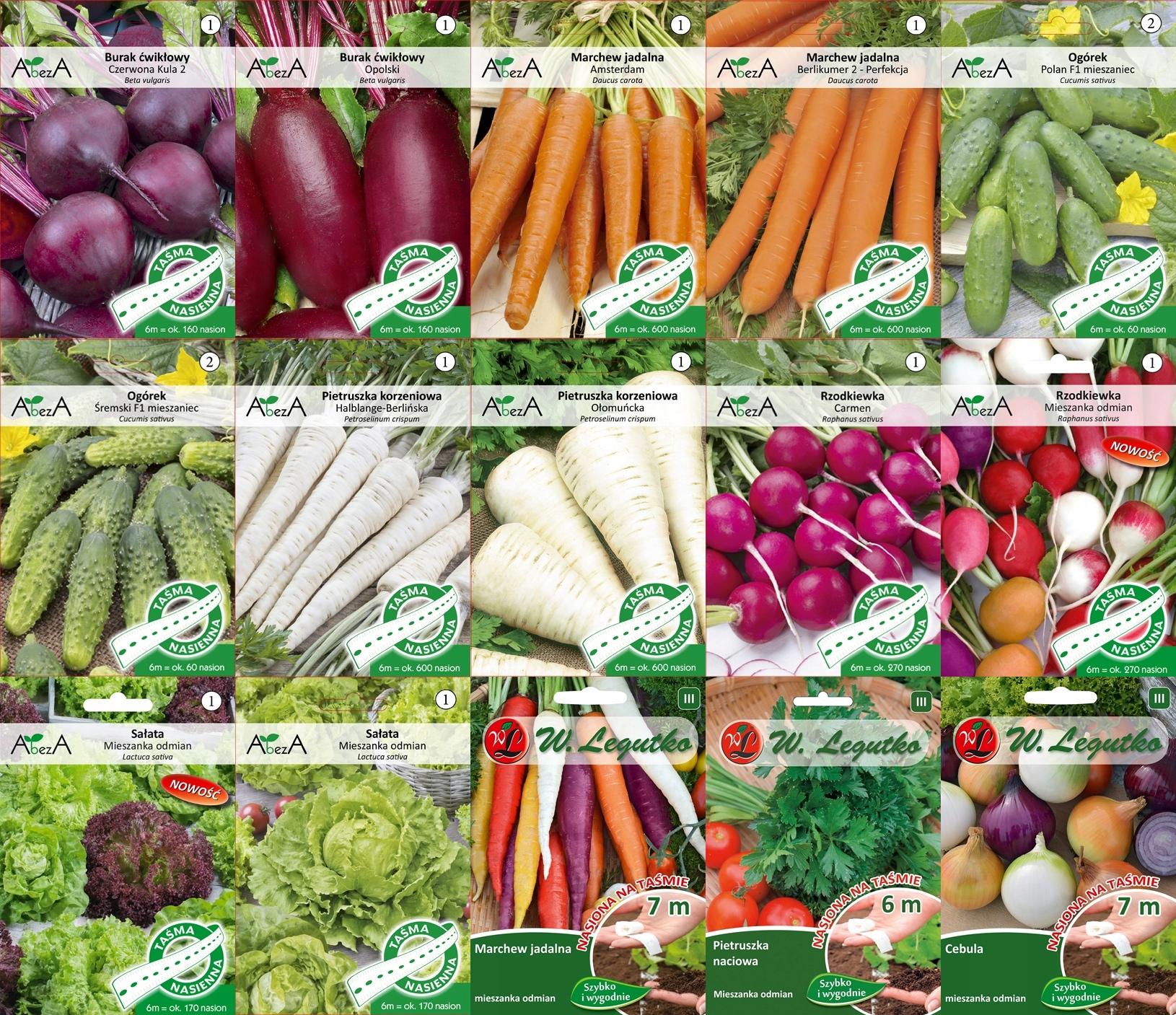 Zestaw warzyw NASIONA NA TAŚMIE 15 opakowań nasion