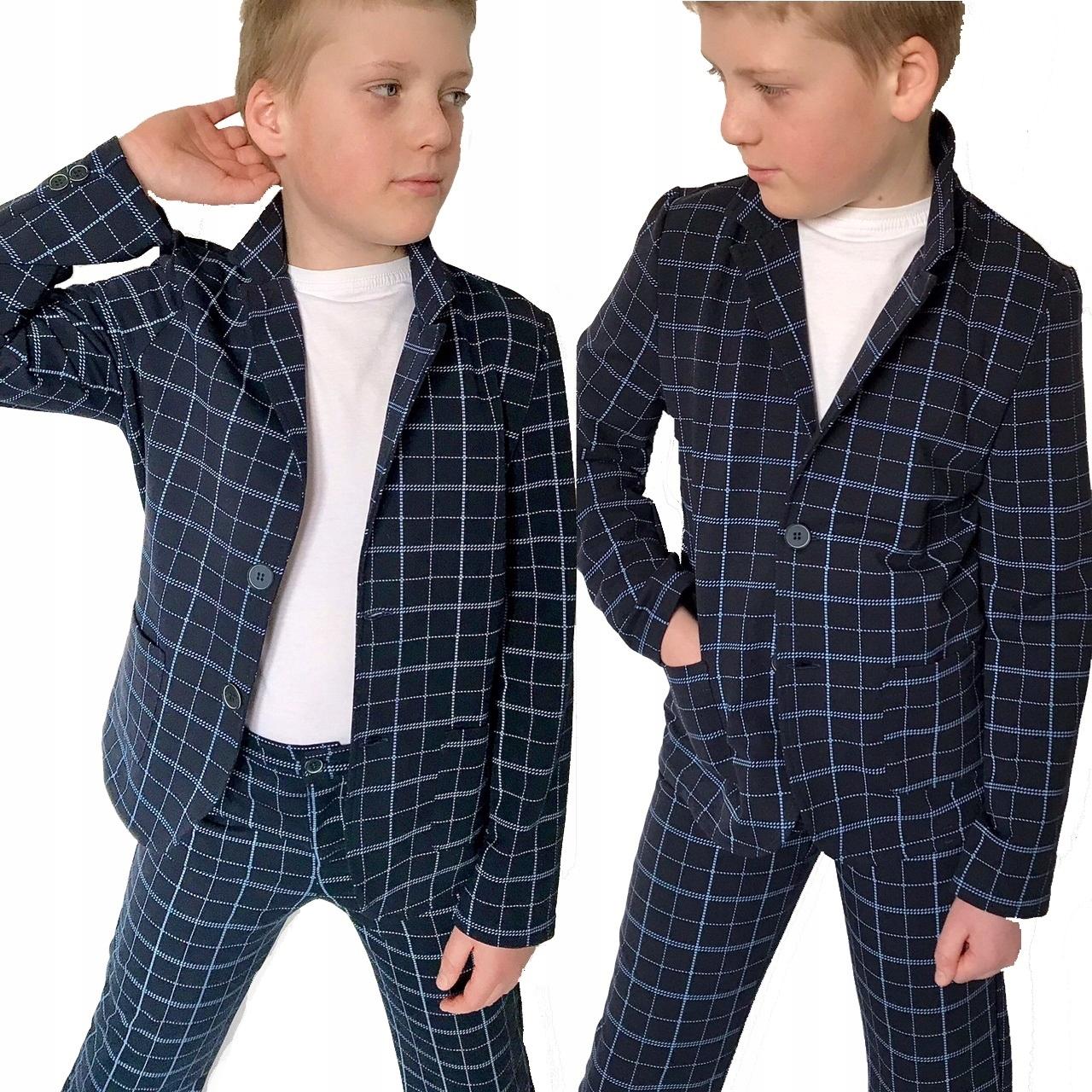 GARNITUR chłopięcy w kratkę MARYNARKA spodnie 140
