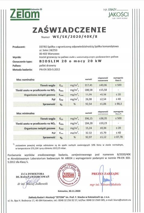 KOCIOŁ DEFRO BIO SLIM 20kW ECODESIGN 5 KLASA Kod produktu KCO-BS-20