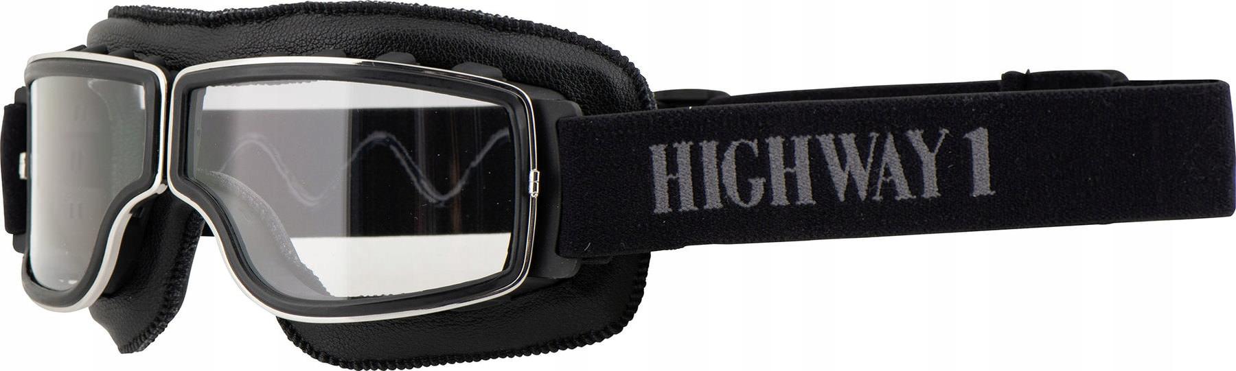 HIGHWAY 1 RETRO Motocyklové okuliare Transparentné