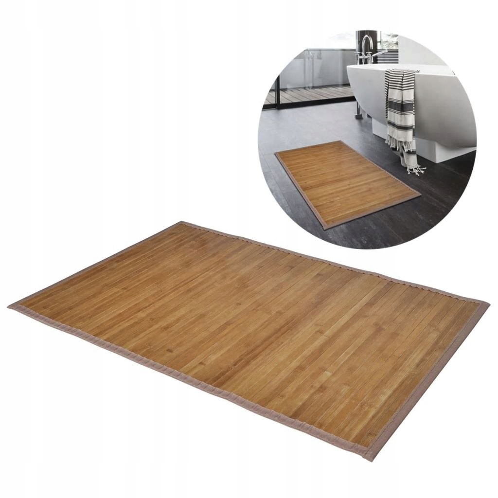2 bambusové kúpeľňové predložky 40 x 50 cm hnedé