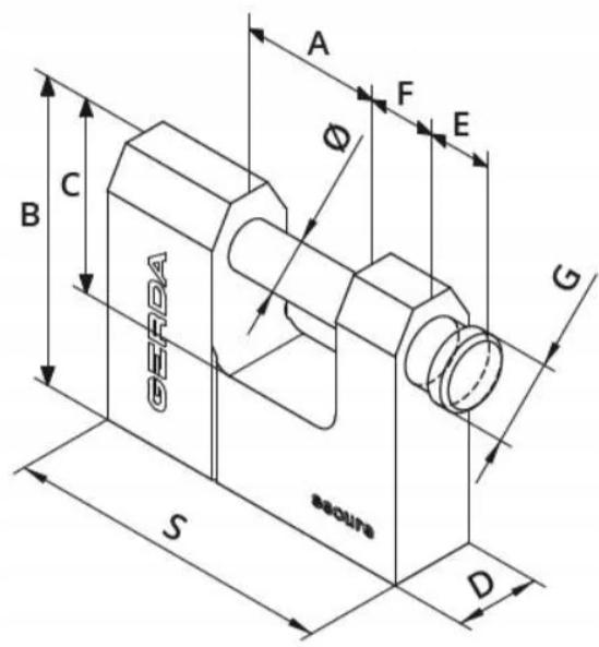 Kłódka GERDA SECURE Wzmocniona Trzpieniowa 60mm Marka Gerda