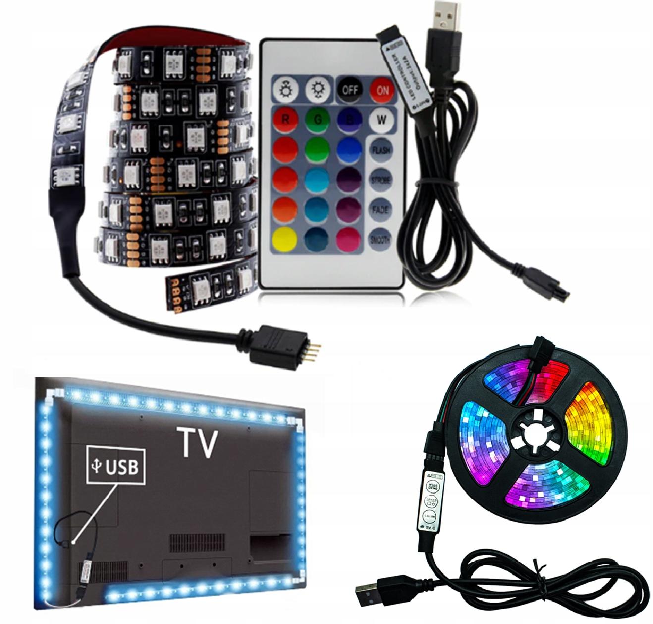 TAŚMA LED TV USB Podświetlenie RGB 1M 5V + PILOT
