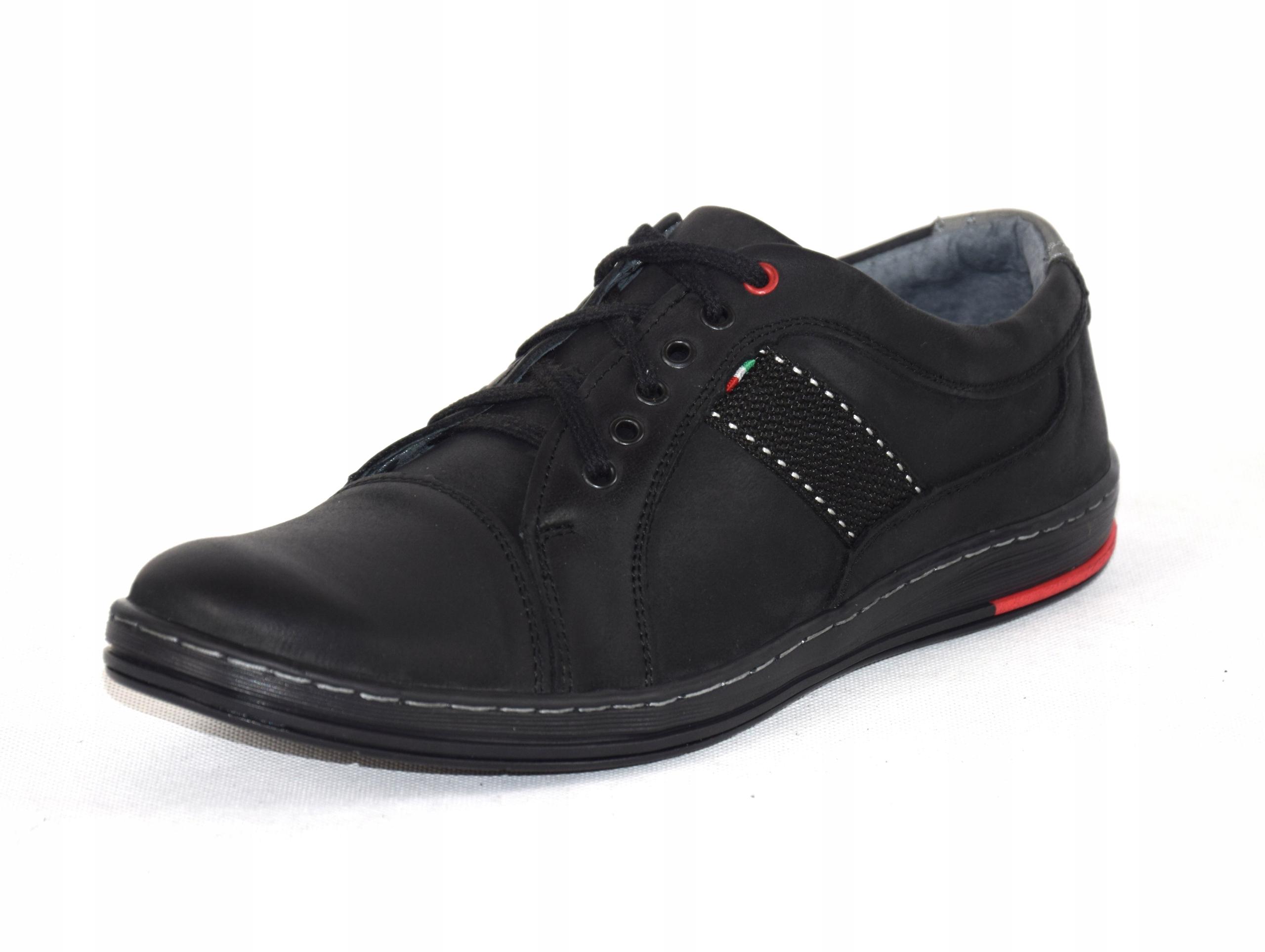 Półbuty czarne trampki skórzane buty polskie A238 Rozmiar 45