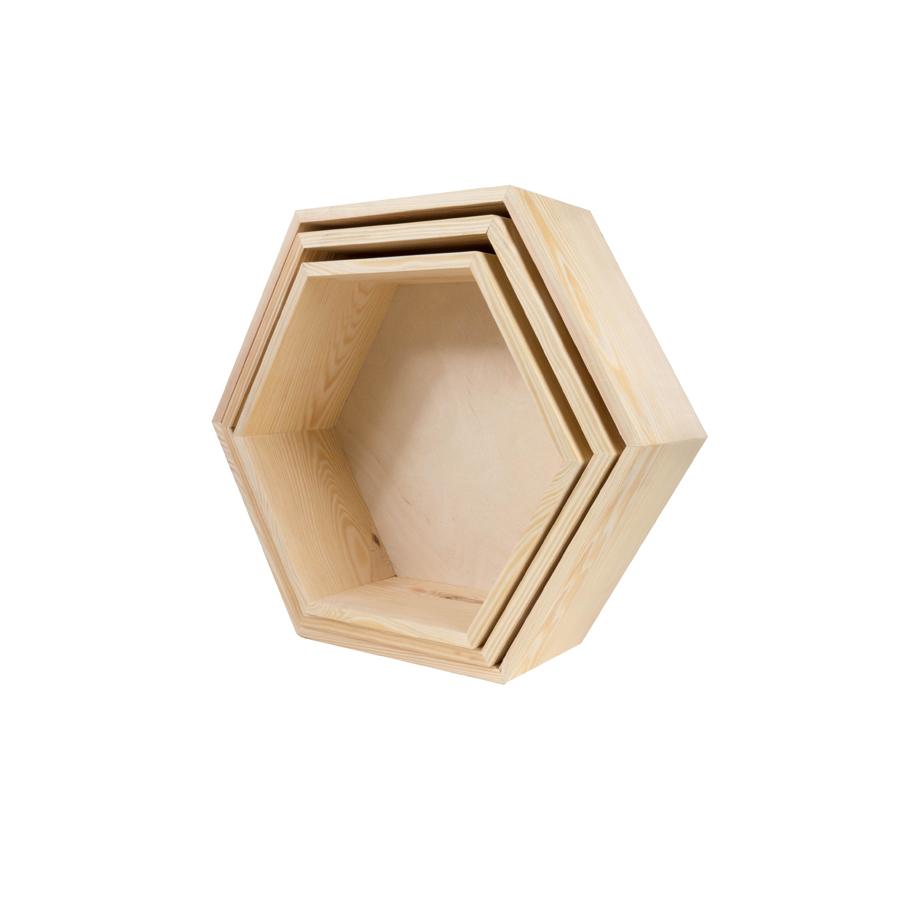 Półka hexagon - 3 w 1 z pleckami