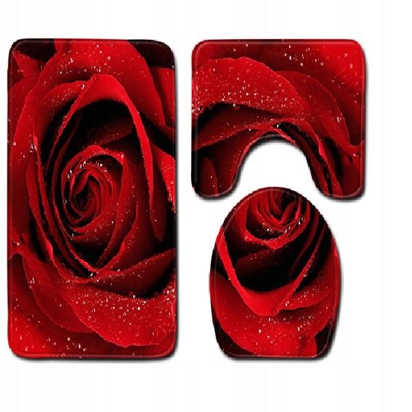 SADA 3 RUŽÍ 3D KÚPEĽŇOVÝCH KOBERCOV