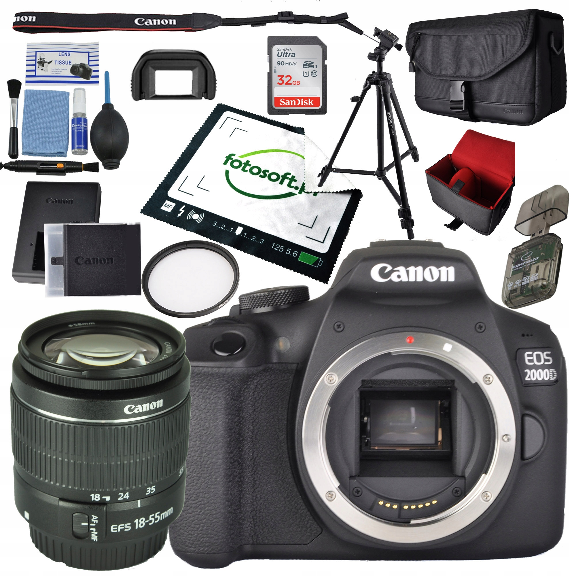 CANON EOS 2000D + 18-55 DC III WIPE SET 2XL