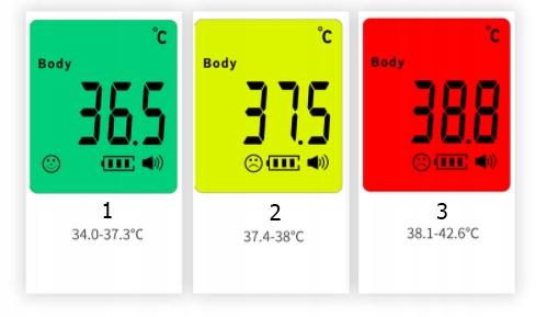 TERMOMETR BEZDOTYKOWY Medyczny Lekarski CERTYFIKAT Cechy dodatkowe alarm gorączki automatyczne wyłączanie hipoalergiczna końcówka informacje głosowe laserowy wskaźnik podstawka podświetlany wyświetlacz pomiar temperatury otoczenia sygnały dźwiękowe wskaźnik poziomu baterii wybór jednostki pomiaru