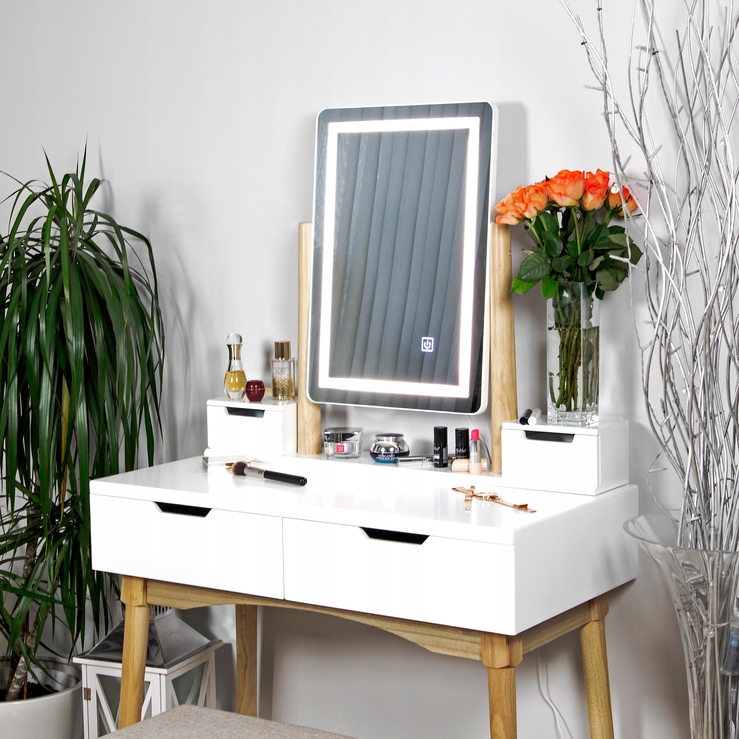 TOALETKA kosmetyczna z LUSTREM i TABORETEM +LED 4w Materiał Drewno