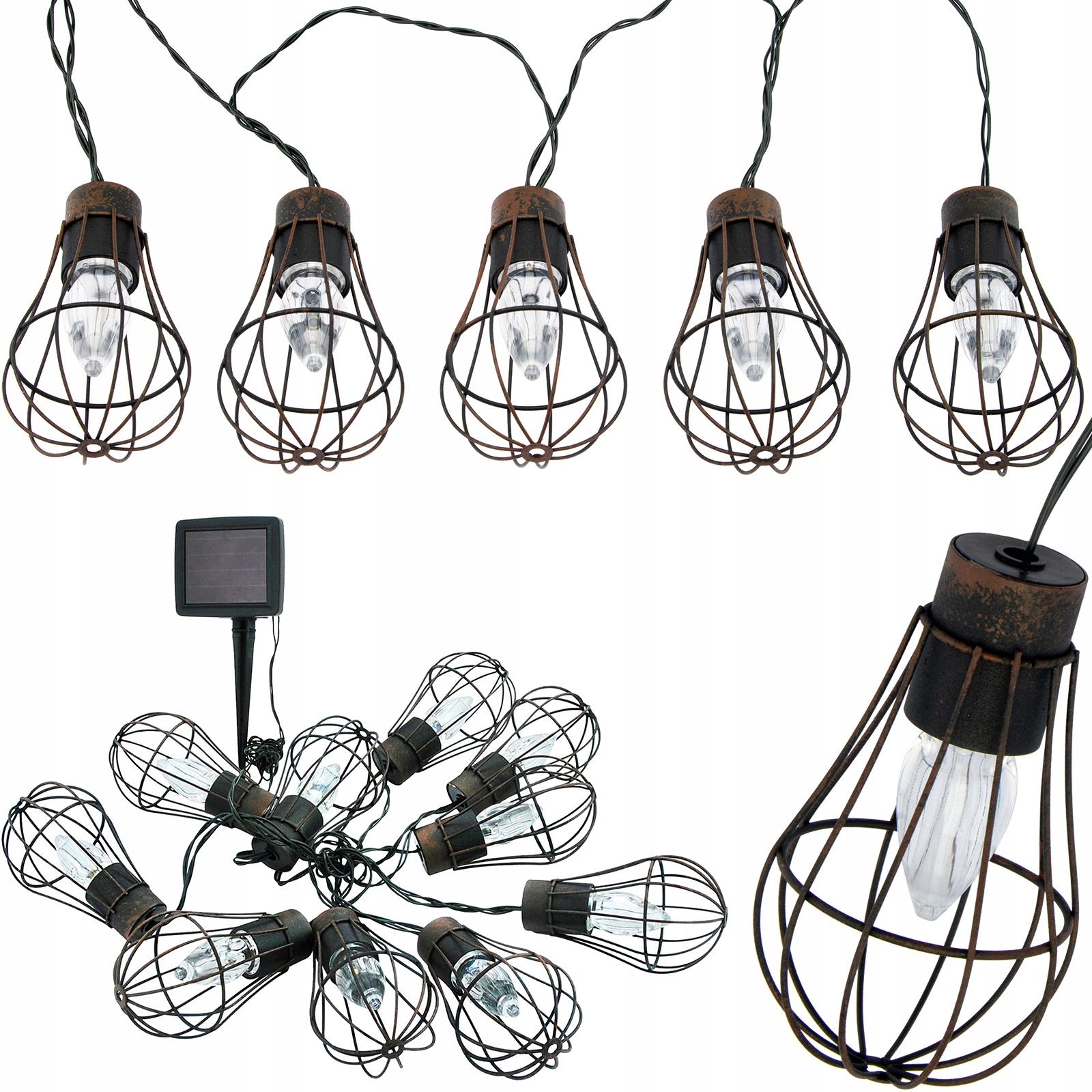 Girlanda żarówki LED panel solarny lampki ogrodowe