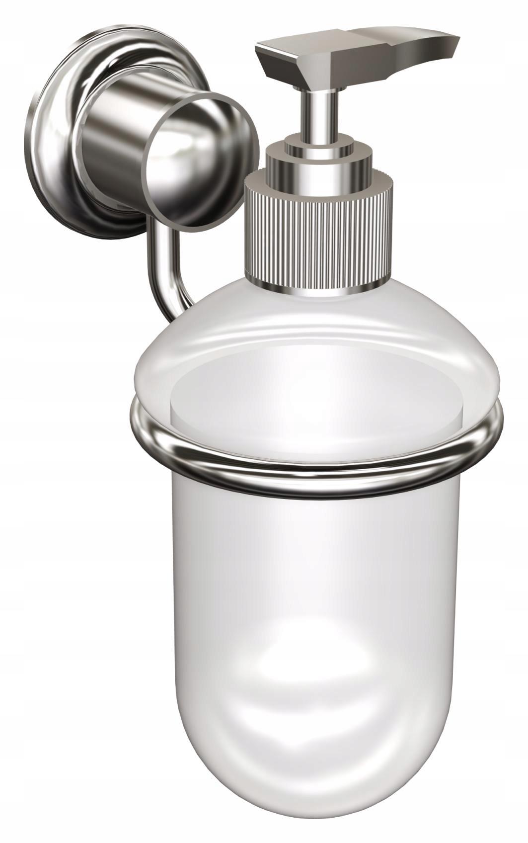 Chromovaný dávkovač tekutého mydla v sklenenej nádobe