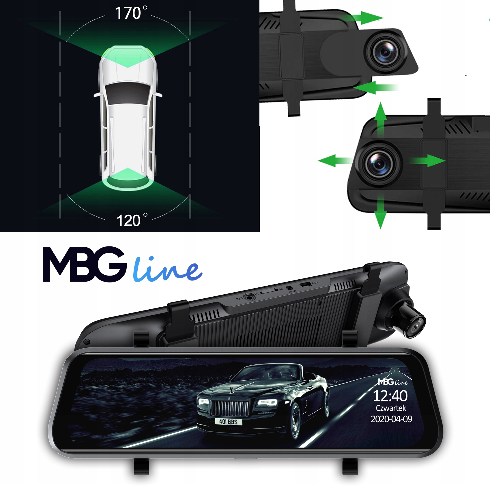 Kamera Rejestrator lusterko 2K+FHD HS900PRO SONY Karta pamięci w zestawie brak
