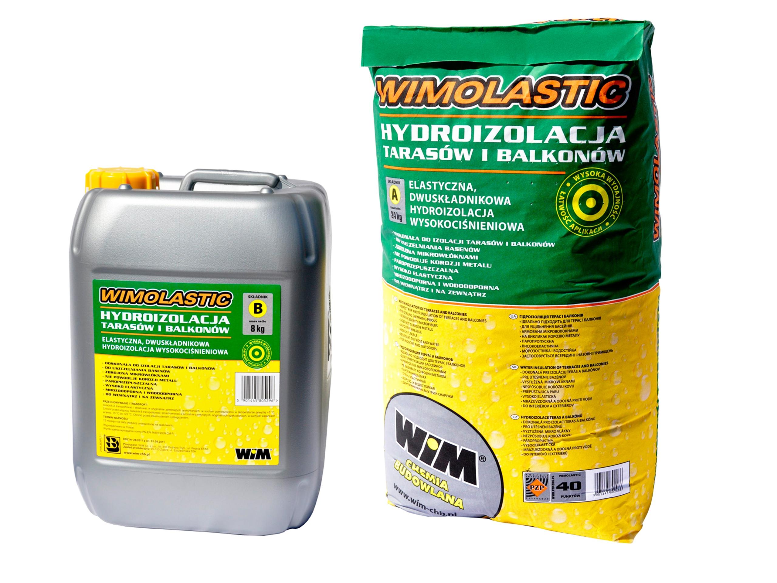 Hydroizolacja WIM Wimolastic A+B 32kg basen taras
